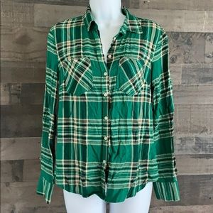 Women's Plaid Button Down Blouse